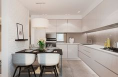 Interior:Minimalist Kitchen In Warm Modern Interior Design Long White Kitchen Island Wooden Table Idea White Chairs Hanging Lamps Amazing Microwave Ideas Wonderful Ceiling Design INCREDIBLE WARM MODERN INTERIOR DESIGN IDEAS