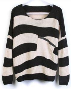 Black Stripes Loose Sweater