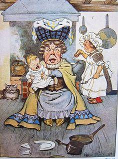 The Duchess was sitting on a three-legged stool, nursing a baby - Alice in Wonderland, 1916