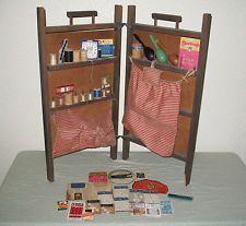 Vintage Sewing Box Wood Shelf Folding Cabinet Handles Fabric Primitive Case