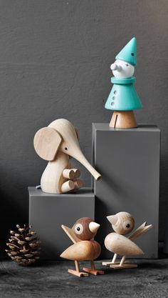 Dansk design i top klasse. Det er smukt og det er elegant. Lucie Kaas spurv, klovn og elefant. #DanskDesign #inspirationdk #LucieKaas