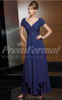 Hot Sale Royal Blue Chiffon A-line  Floor-length Prom Dresses(PRJT04-0645)
