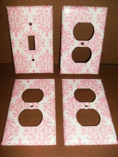 Pink and White Damask Single LIght Switch by COUTURELIGHTPLATES, $12.00