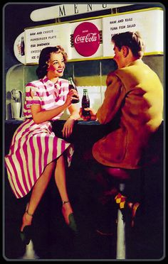 Coca-Cola vintage ad #cocacola Soda fountains at every drug store!