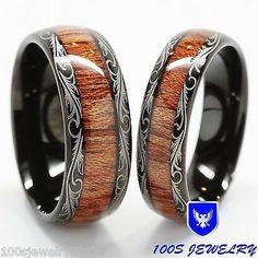 Men & Women's Tungsten Carbide Wedding Band Wood Inlay Comfort Fit Ring Set