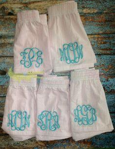Monogrammed MEDIUM Pink Seersucker BOXERS-Preppy-Collegiate-Sorority-Lounge Pants-Bridal Party- Graduation on Etsy, $14.95