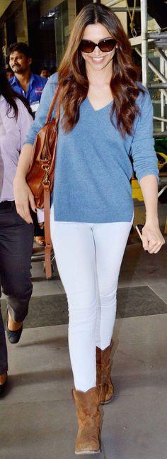 Deepika Padukone Casual Dress in Airport Style