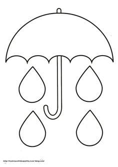 Squish Preschool Ideas: April --Showers & Ducks & Such-umbrella and rain drop template Spring Theme, Spring Art, Spring Crafts, Classroom Crafts, Preschool Activities, Toddler Crafts, Crafts For Kids, Umbrella Template, Rain Crafts