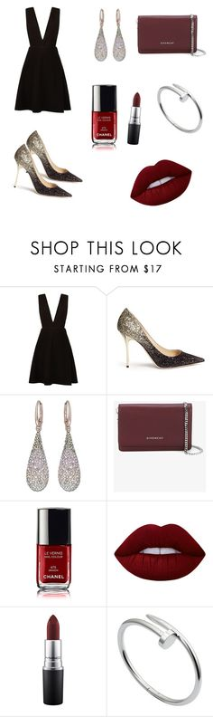 """Evening Look"" by hanakalesic ❤ liked on Polyvore featuring New Look, Jimmy Choo, Swarovski, Givenchy, Lime Crime, MAC Cosmetics and Cartier"