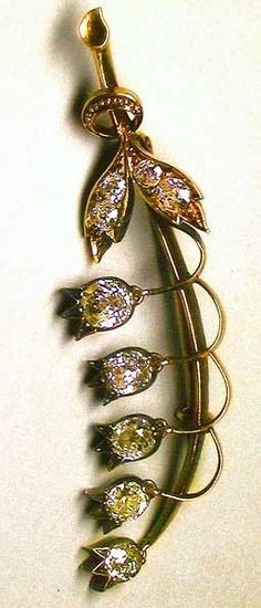 Fabergé Lily of the valley Brooch. Gold, silver,diamonds, sapphires. 1899 – 1903. St. Petersburg,