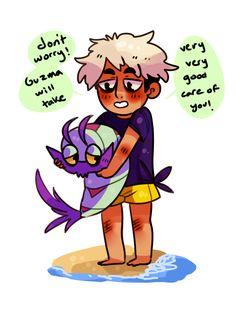 "guzma befriends a wimpod "" Guzma Pokemon, Pokemon Funny, Gotta Catch Them All, Catch Em All, Losing A Child, Black Butler, Superwholock, Skyrim, The Hobbit"