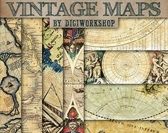 """Vintage maps digital paper - """"VINTAGE MAPS"""" with vintage and antique maps of europe, america and the world for scrapbooking, invites, cards"""