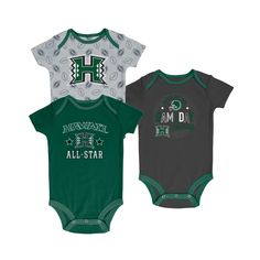 d0012ec15ac Hawaii Rainbow Warriors Baby Boy Short Sleeve 3pk Bodysuit - 0-3M