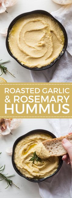 Homemade Roasted Garlic & Rosemary Hummus that is perfect for a healthy snack to share with family and friends on game day or dinner party. Vegetarian Recipes, Cooking Recipes, Healthy Recipes, Vegetable Recipes, Vegan Snacks, Healthy Snacks, Rosemary Recipes, Humus Recipe, Antipasto