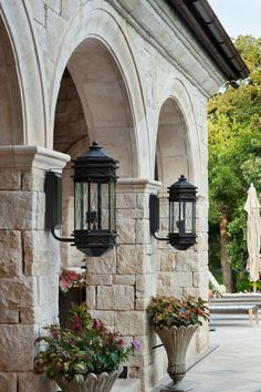 Outdoor lamps and stone wall