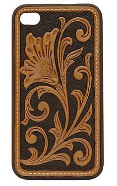 M Western Products® Brown with Tan Embossed Tooled Flower iPhone Case | Cavender's Boot City