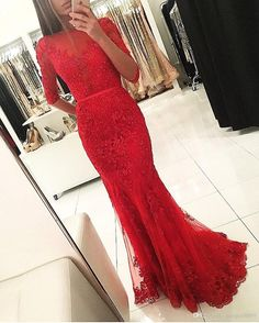 2017 Graceful Red Beaded Lace Long Evening Dresses With Half Sleeve Backless Floor Length Mermaid Prom Dress Vestidos De Renda Halter Evening Dresses Js Boutique Evening Dresses From Gaogao8899, $130.66| Dhgate.Com