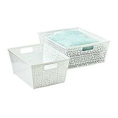 The Container Store > Rectangular Brocade Bins