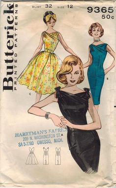 1960s Butterick 9365 Vintage Sewing Pattern by midvalecottage