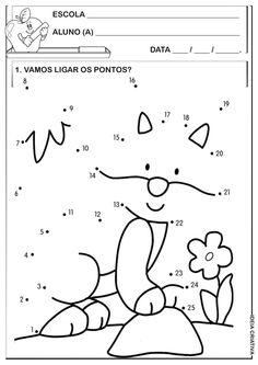Cute Fox Dot to Dot coloring pages for kids, connect the dots printables free… English Grammar Worksheets, Kids Math Worksheets, Preschool Education, Preschool Activities, Connect The Dots, Math For Kids, Le Point, Coloring Pages For Kids, Pre School