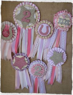 little girl's pony party birthday prize ribbons...all handmade by me :)