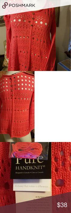 Pure hand-knit sweater medium/ large Beautiful hand-knit sweater Pure Handknit Tops