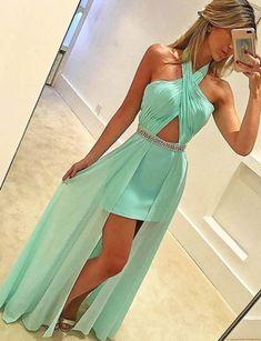 Mint Green Prom Dress - Halter Sleeveless #prom #promdress #dress #eveningdress #evening #fashion #love #shopping #art #dress #women #mermaid #SEXY #SexyGirl #PromDresses