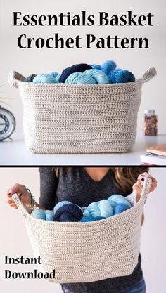 Essentials basket crochet pattern. Functional and attractive. Instant download crochet pattern. #basketpattern, #crochetbasket, #affiliate