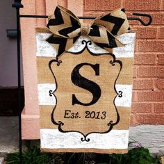 Painted burlap garden flag.
