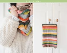 The Yvestown Shop's crocheted stripy cowl. The colors and irregular stripes make a simple to-do wonderful. Free pattern.