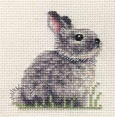 For the girl?? GREY BUNNY RABBIT baby, counted cross stitch kit + all materials needed   eBay