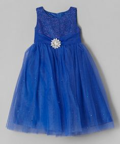 Royal Blue Sparkle Overlay Dress - Infant, Toddler & Girls #zulily #zulilyfinds