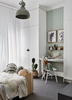 This Scandi-style kid& room has an in-built study nook with grey carpet and. This Scandi-style kid& room has an in-built study nook with grey carpet and a Dulux Spanish Olive feature wall. Bedroom Sets, Bedroom Decor, Sage Bedroom, Bedroom Furniture, Bedroom Lighting, Scandi Bedroom, Childs Bedroom, Kid Bedrooms, Furniture Dolly