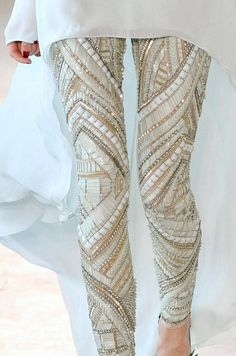 Heavily beaded and sequined and bedazzled leggings in elegant white, beige, gold, off-white, pewter, pearl white.