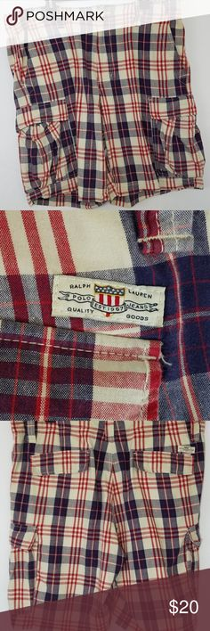 """Ralph Lauren Polo Co Men's Plaid Shorts  Size 36 Ralph Lauren Polo Co Men's Shorts  Good Used Condition; No Stains, Flaws, Rips, or Tears. Material:  100% Cotton Fastener: Button Front w/Zipper Pockets:  2 Front, 2 Rear Button Through, 2 Cargo Type on Legs Color:  Red/White/Blue  Waist (Side to Side x 2):  38"""" (Size tag says 36, I measure 19"""" side to side)   Inseam:  11"""" Compare measurements to clothing you own to insure a proper fit.  Our measurements are taken with the item flat on a…"""
