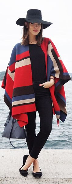 Multi Olivia Palermo's Style Inspired Poncho by Maritsa