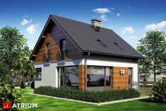 Projekty domów – Projekt domu z poddaszem POLO – wizualizacja 2 – Keep up with the times. Minimal House Design, Tiny House Design, Home Building Design, Home Design Plans, Cottage Style Homes, Story House, Modern House Plans, Facade House, House Front