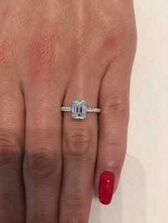 2.05 Carat Emerald Cut Hidden Halo Micropaved Diamond Engagement Ring - 7.5 / 14K White Gold
