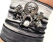 Namaste Silk Wrap Bracelet Yoga Jewlery Ohm Om Meditation Upper Arm Band Buddha Elephant Unique Gift For Her Christmas Under 50 Item Z29