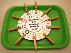 Love this homemade counting game! :) Clothespin number math