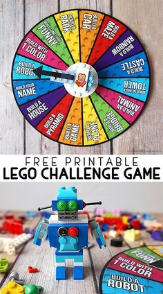 Encourage creative building with this Free Printable LEGO Challenge Game with LEGO spinner instructions! Encourage creative building with this Free Printable LEGO Challenge Game with LEGO spinner instructions! Stem Activities, Activities For Kids, After School Club Activities, School Holiday Activities, Birthday Activities, Montessori Activities, Lego Spinner, Diy Spinner Wheel, Challenge Games
