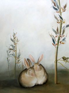 Two Rabbits ~ A Painting by Jean Bradbury .....