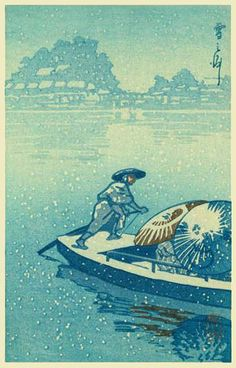 Ferry in snow by Kawase Hasui (published by Postcard prints)