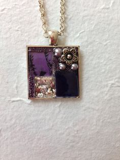 Mosaic pendant necklace made of orchid Van by MosaicPendantsPlus, $23.00