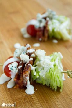 "Wedge Salad on a Stick | ""This quick and easy appetizer is and a great way to impress your guests! Perfect for picnics, too."""