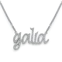14k Gold Name Necklace with Diamonds, Custom-made * Details can be found by clicking on the image.