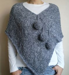 Gray poncho with pom pom gray scarf hand by bysweetmom on Etsy . Gray poncho with pom pom gray scarf hand by bysweetmom on Etsy Gray poncho with pom pom gray scarf hand by b. Poncho Knitting Patterns, Crochet Poncho, Knitted Shawls, Loom Knitting, Hand Knitting, Grey Poncho, Poncho Shawl, Grey Scarf, Tuto Tricot