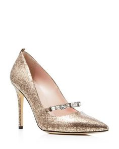 SJP by Sarah Jessica Parker Attire Metallic Snake-Embossed Pointed Toe High Heel Pumps | Bloomingdale's