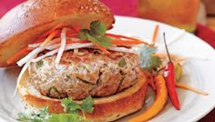 Banh Mi Pork Burgers with Cucumber, Carrots, and Cilantro