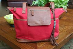 *** New Lily Jade Diaper Bag Style coming in April 2014- The Madeline Bag in Red Canvas Converts into a backpack- contains removable inner bag